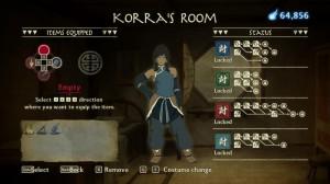 La chambre de Korra où vous équipez vos objets.